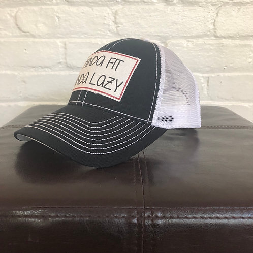 Kinda Fit, Kinda Lazy Black and White Trucker Hat