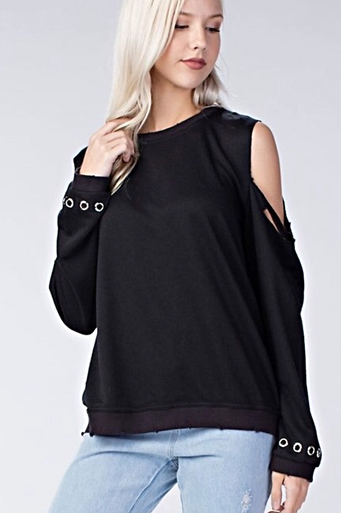 Black Grommet Distressed Sweatshirt