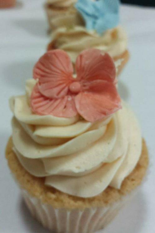 12 Peach/Coral Hydrangea Cupcakes