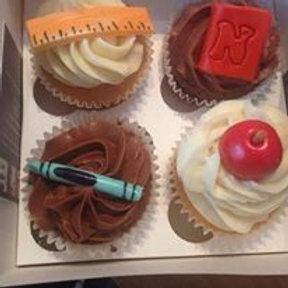 4 Chocolate and Vanilla Teacher Cupcakes