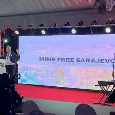 Perry Baltimore speaking at Mine Free Sarajevo closing ceremony