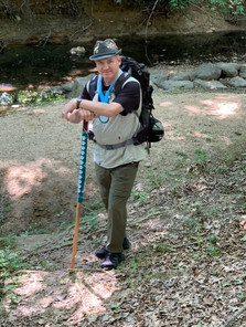 MLI supporter, Bo Dyess hiking in his Paw-er Walk for Peace Race Swag!