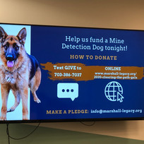 Snapshot of our successful campaign to fund a new mine detection dog.