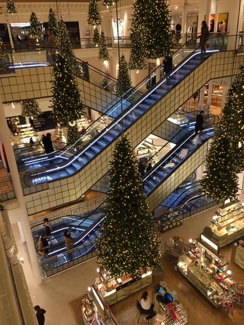 escalator bon marché deco noel
