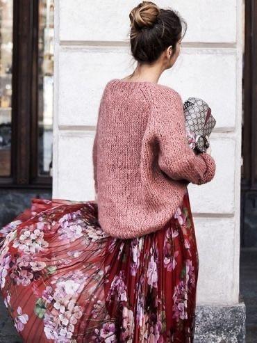 Robe fleurie et pull