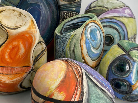 Gathering the Touchstone Ceramics together for Hampshire Open Studios.