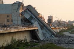 morandi collapsed bridge in genoa italy.