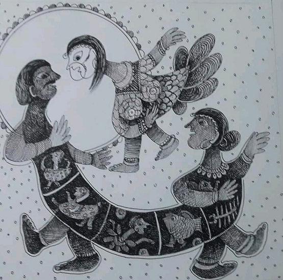 RAKHEE KUMARI | Stay Home B | Ink pen on paper | 10 x 10 inch