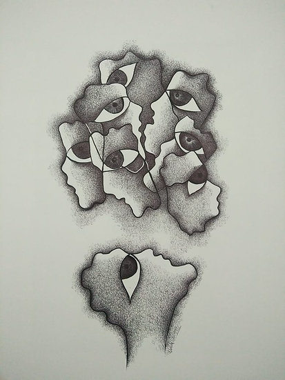 UMESH SHARMA | A conflict of Loyalties | Pen & Black Ink | 14 x 12 inch