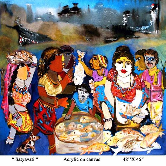 SATYAVATI | Medium- Acrylic on Canvas | Size- 48x 45inch