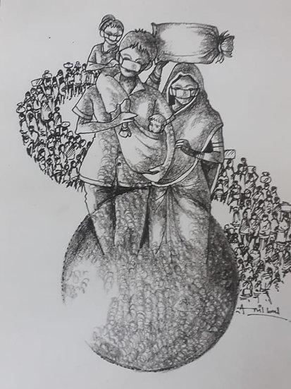 ANIL BAL | GHARBAHUDA-3 | Pen, Pencil on Paper | 12 X 12 inch