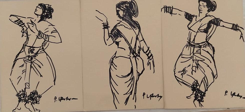 PRAVEEN UPADHYE | DANCER | Ink on mount bord | 7 x 17 inch (Triplicate)