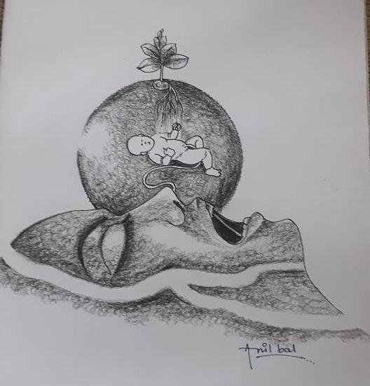 ANIL BAL   GHARBAHUDA-4   Pen, Pencil on Paper   12 X 12 inch