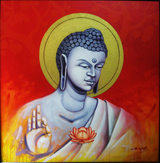 BUDDHA-I   Size- 34 x 34 inch   Medium- Oil and Acrylic on Canvas