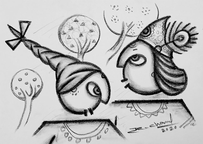 RAJESH CHAND | Love | Charcoal on Fabriano Paper | 8 x 6 inch