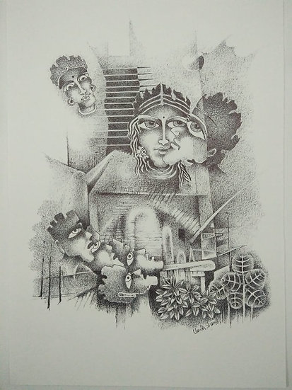 UMESH SHARMA | A Conflict of Loyalties | Pen & Black Ink | 12 x 8 in