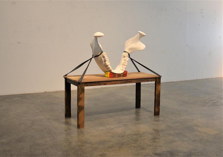 "PRAJAK SUPANTEE   ""UNTITLED"" (BIND)   PLASTER, PILLOW, TABLE, ROPE"