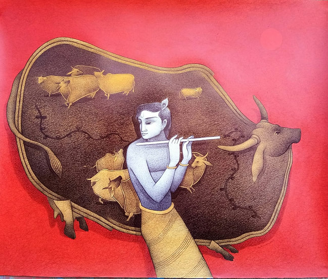 KRISHNA WITH COW- II | Medium- Mixed Media on Paper | Size- 30 x 35 inch