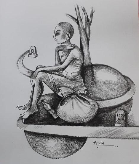 ANIL BAL | GHARBAHUDA-1 | Pen, Pencil on Paper | 12 X 12 inch