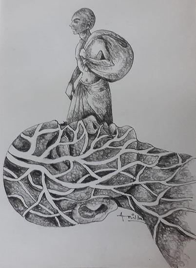 ANIL BAL | GHARBAHUDA-2 | Pen, Pencil on Paper | 12 X 12 inch