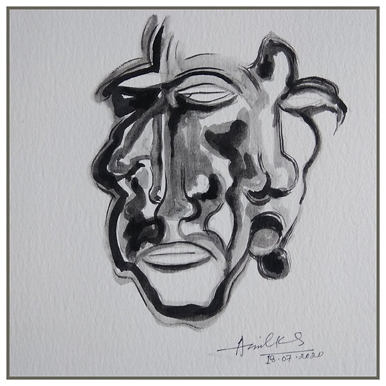 ANIL KUMAR SINHA | Expression of rasa-1 | Acrylic colour on paper, 12x12 inch