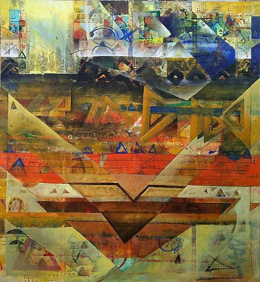 SUSHIL NIMBARK | UNTITLED | MIX MEDIA ON CANVAS | 183 X 183 CM