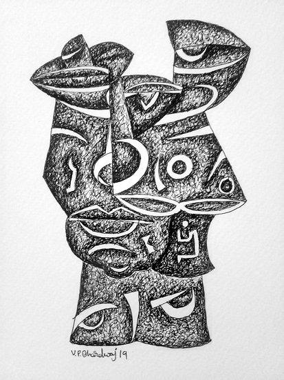 VED PRAKASH BHARDWAJ | DRAWING-4 | Pen on paper | 8.3 X 5.7 inch.