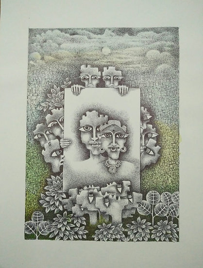 UMESH SHARMA   A conflict of Loyalties   Water Colour Pen & Black Ink   14 x 12
