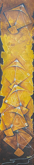 UDAAN- 15 | Acrylic, Pen & Gold Foil on Canvas | 12 x 60 inch