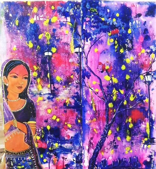 MIDNIGHT GIRL | Medium- Acrylic on Paper | Size- 18×20 inch
