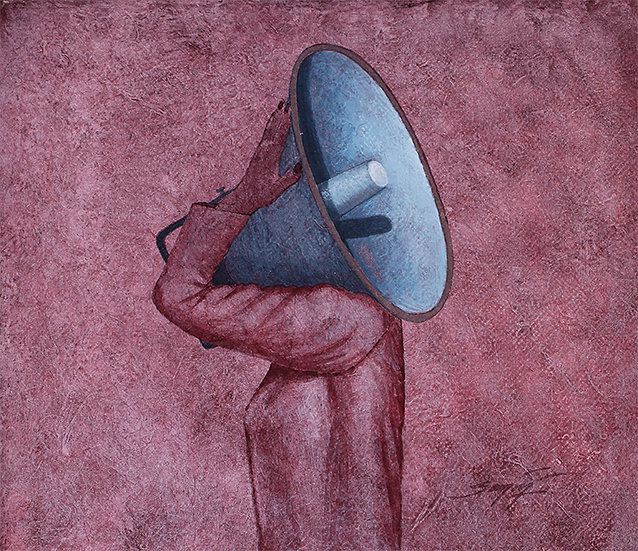 HER MASTER'S VOICE | Medium- Acrylic on Paper | Size- 9.2 x 11 inch