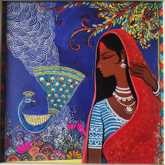 TRIBAL LADY   Medium- Acrylic on canvas   Size- 12×12 inch