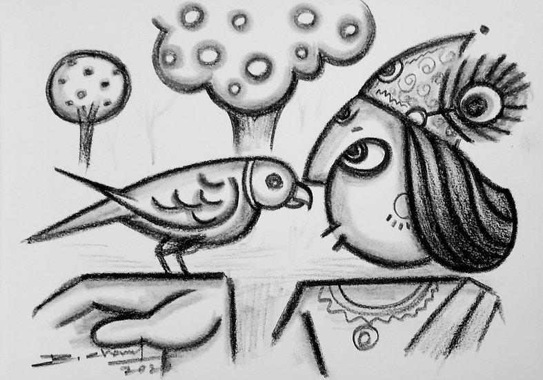 RAJESH CHAND | Chit-Chat | Charcoal on Fabriano Paper | 8 x 6 inch