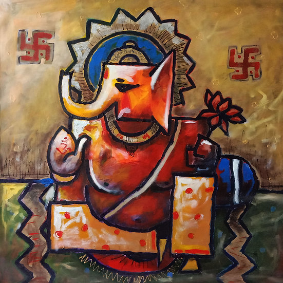 GANPATI-V | Medium- Acrylic on Canvas | Size- 28 x 28 inch