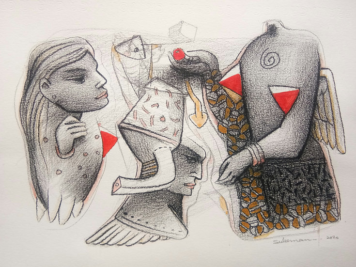 MOHAMMED SULEMAN | Untitled-1 |  Mixed media ON Paper, 8 X 12