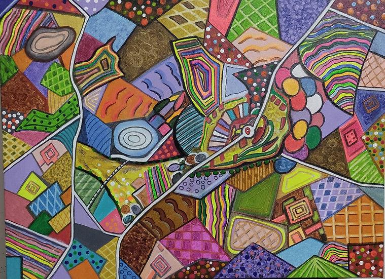 LANDSCAPE {a bird eye view}- I | Medium- Acrylic on canvas | Size- 18 x 24 inch