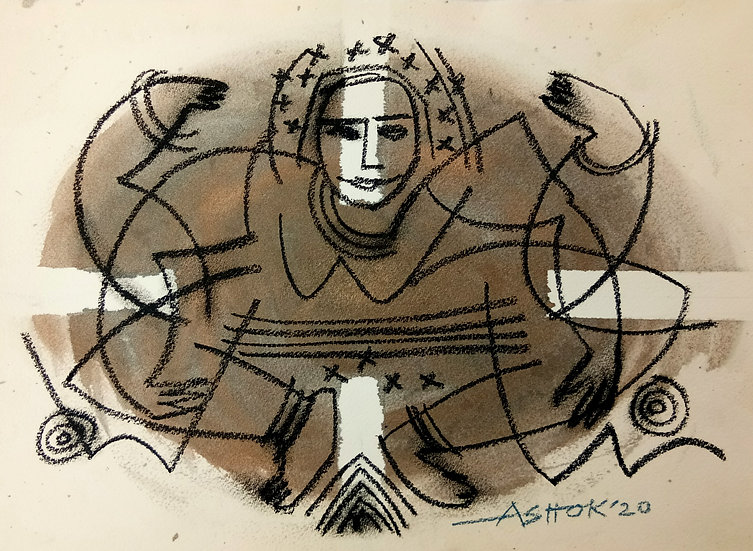 ASHOK KUMAR | Enhancing Power | Charcoal on paper | 12 x 11 inch