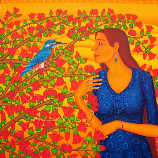 SABIA | GIRL WATCHING BIRD | OIL ON CANVAS | 48 X 48 INCH