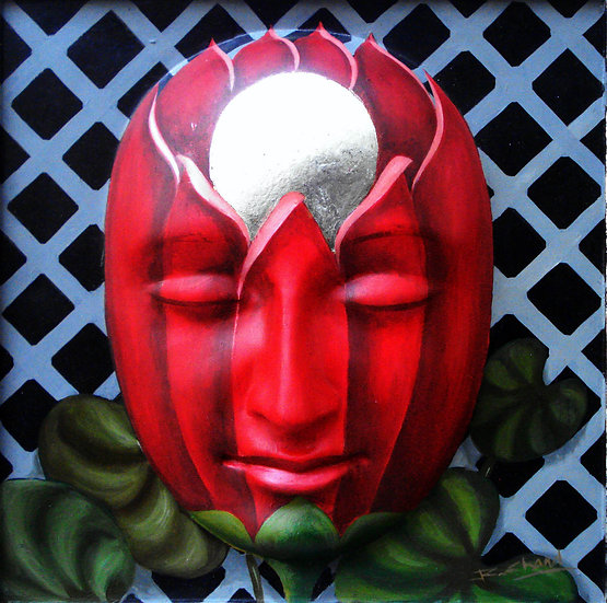 MASK- IV   Size- 12 x 12 inch   Medium- Oil colour on Fiberglass mask
