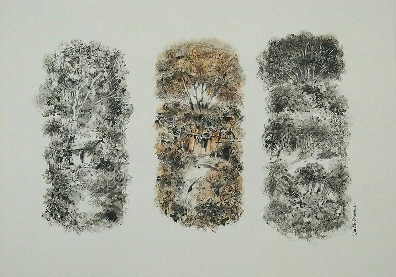 UMESH SHARMA | Landscape | Dust Powder & Black Ink | 12 x 8 inch