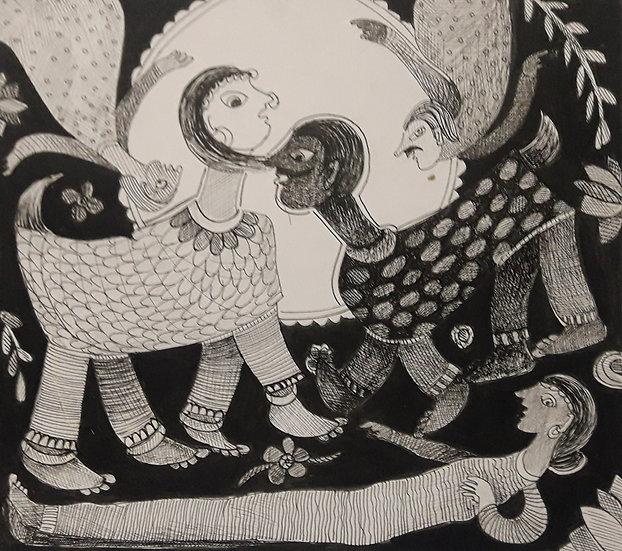 |RAKHEE KUMARI | Stay Home A | Ink pen,acrylic on paper | 9.5 x 8.5 inch