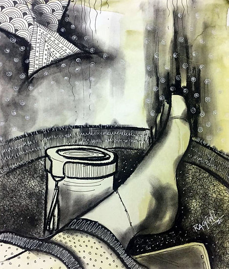 RAGINI SINHA | Lockdown and me- 2  | Charcoal and Pen on Paper | 11 x 12 inch