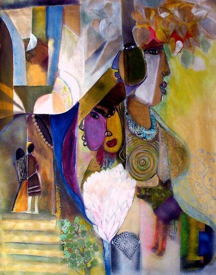 PANCHTANTRA- II | Medium- Acrylic on Canvas | Size- 48 x 36 inch