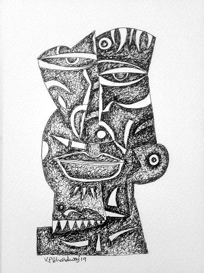 VED PRAKASH BHARDWAJ | DRAWING-3 | Pen on paper | 8.3 X 5.7 inch.