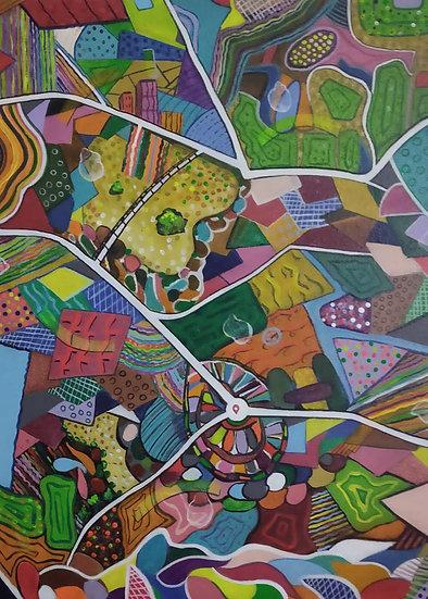 LANDSCAPE {a bird eye view}- II   Medium- Acrylic on canvas   Size- 30 x 40 inch