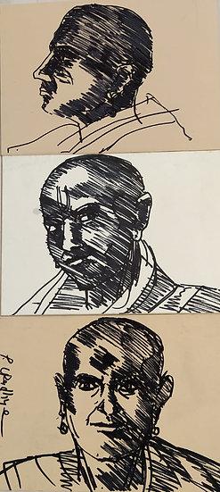 PRAVEEN UPADHYE | DRAWING-1 | Ink on mount bord | 7 x 17 inch (Triplicate)