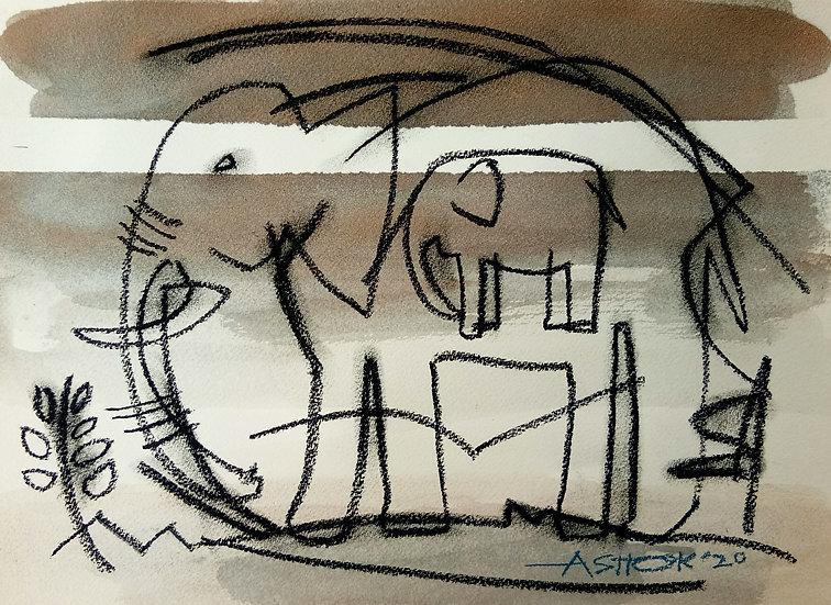 ASHOK KUMAR | Motherhood | Charcoal on paper | 12 x 11 inch