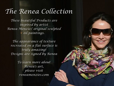 The Renea Collection oil paintings on products art unbrellas and wine glasses