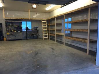 Garage layered shelves