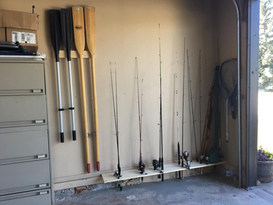 Garage fishing rod storage